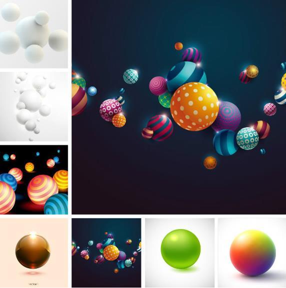 8款彩色3d圆球设计矢量图