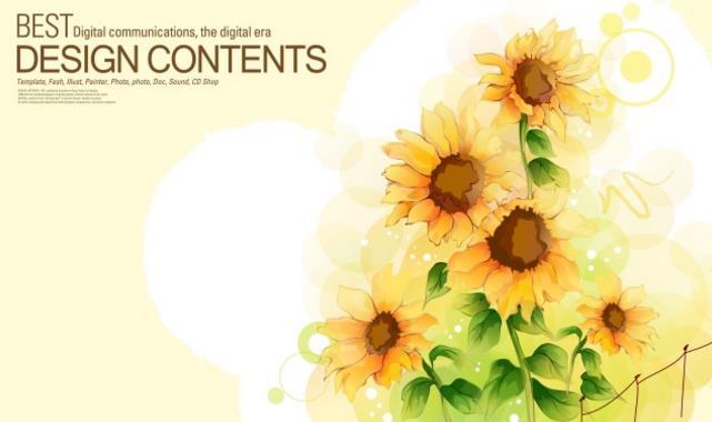 4款水彩感太阳花向日葵信纸设计矢量素材