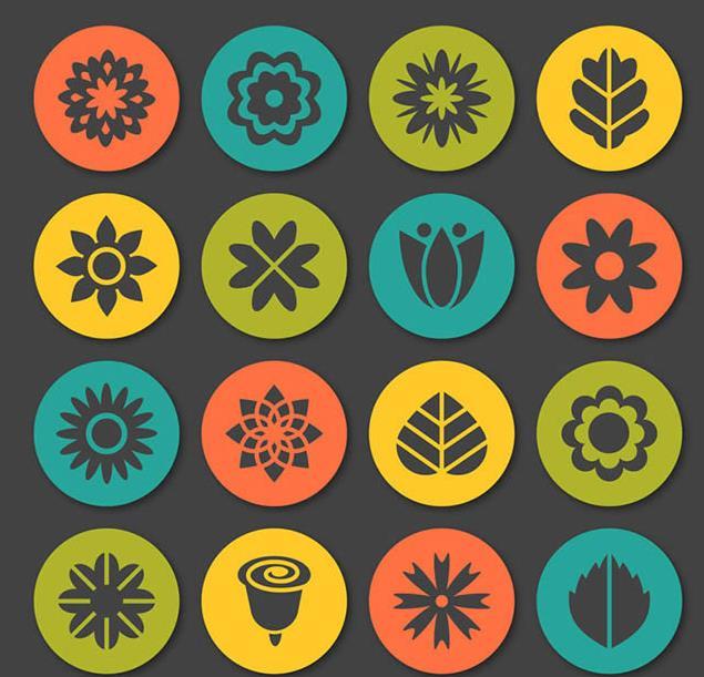 16款圆形花朵和叶子图标矢量素材图片