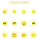 手绘12款趣味太阳表情矢量图
