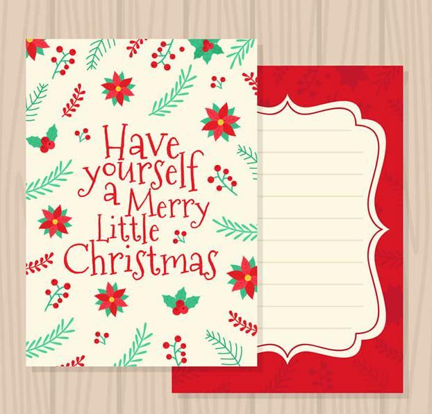 卡通花朵圣诞节贺卡矢量素材设计