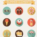 9款卡通圆形夏季元素图标AI素材
