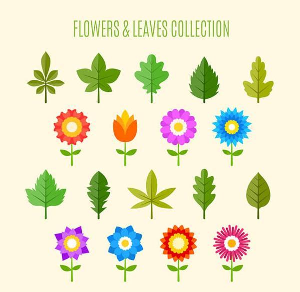18款彩色扁平化花朵和叶子矢量图片素材