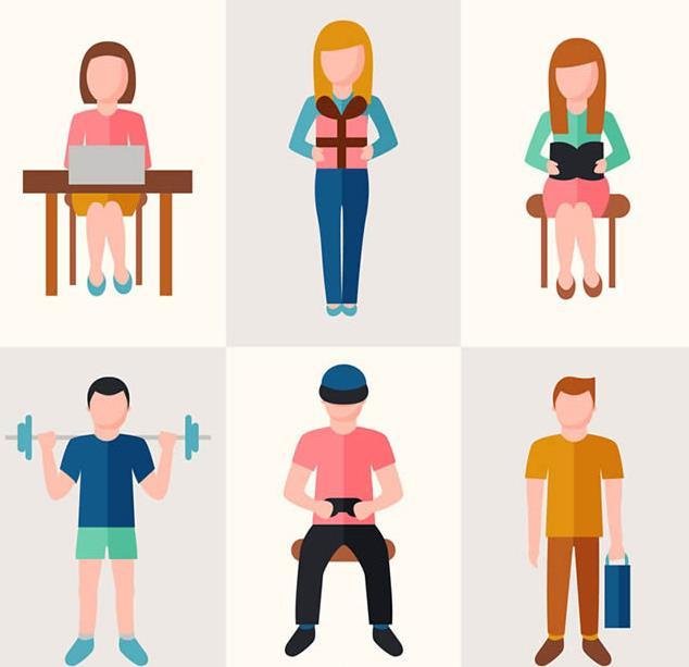 无表情的人物设计可以选择这款6款卡通无表情男女矢量素材图片,其中设计了6款不同造型的男士和女士,3款男士造型设计和3款女士造型的设计,其中有坐在办公桌上办公的造型,手拿礼品盒的造型,坐在椅子上读书的,还有肩抗杠铃和手拿AR设备,手拎物品袋等元素的设计,都是以卡通无表情造型呈现出来的哦。