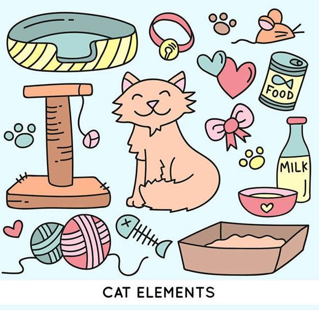 可爱猫咪与宠物用品矢量图