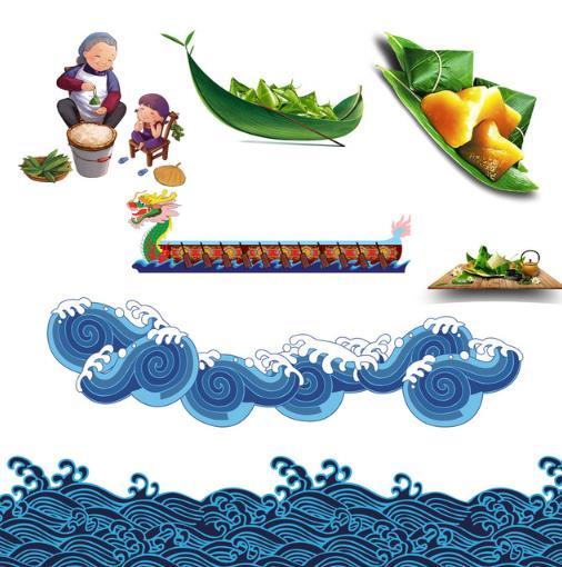 古典风蓝色浪花和端午节粽子图片矢量素材