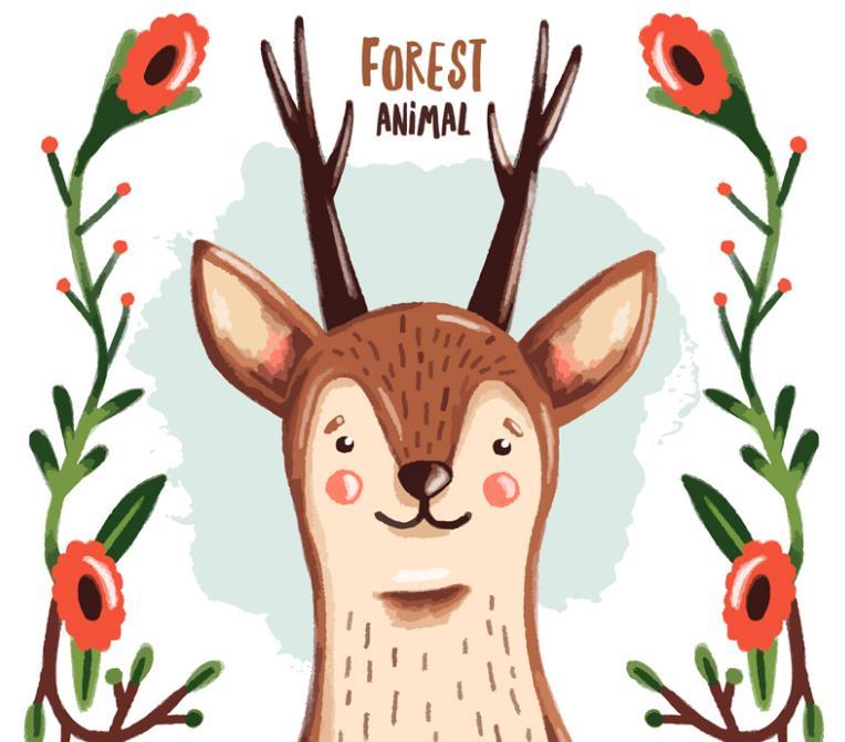平面素材 矢量素材 卡通 > 卡通花卉和鹿矢量素材设计下载  以彩绘的