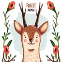 卡通花卉和鹿矢量素材设计