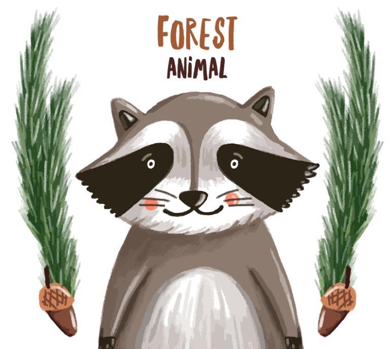 彩绘可是一门艺术,那么以彩绘绘画出来的素材也是一门艺术,这款水彩绘小浣熊矢量素材图片就是以彩绘的形式展现给大家的,其中白色背景下设计了灰色可爱的小浣熊造型,图片两侧则设计了绿色植物的造型,此款植物正好也是小浣熊最爱吃的植物,上方还加入了棕色英文字体的设计。