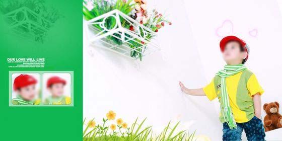 以绿色调作为本张儿童相册模板背景的主色调,右边的那张横版儿童照片