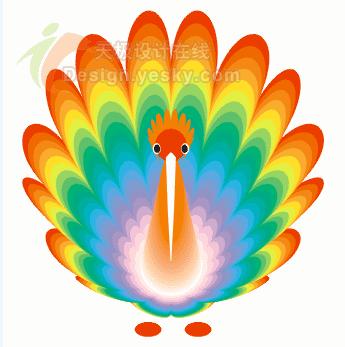 coreldraw教程 绘制可爱鲜艳的小孔雀