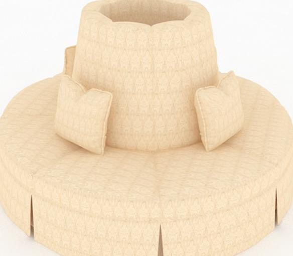 3d创意圆形黄色沙发模型贴图原文件下载