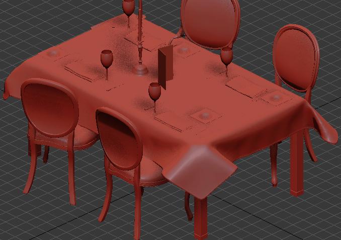 复古欧式棕色餐桌椅3d免费模型贴图原文件下载