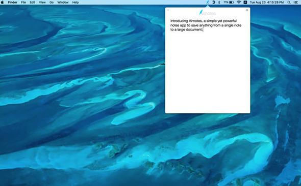 有时令就在那么一瞬间,想要记录着一瞬间就需要一个可以快速启动又可以快速记录的笔记软件,比如说这款Airnotes Mac版,它就能够轻松自如的帮助用户快速启动并且快速输入的功能。Airnotes Mac版最大的特点就是简单,除了简单就是简单。如此简约的一款笔记本软件。相比您在关键时刻一定会派上大用场!