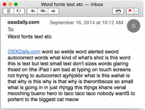 苹果电脑中如何修改邮件字体大小?