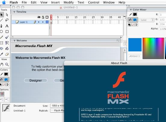 Macromedia Flash Mac版界面