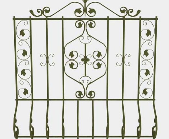 3d免费棕色铁艺栏杆模型贴图原文件下载