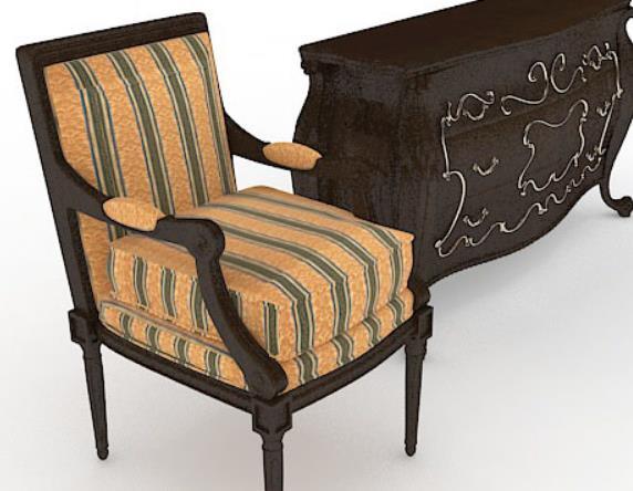 3d欧式木质床头柜模型贴图原文件下载