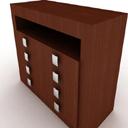 免费3d棕色木质玄关柜模型