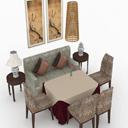 3dmax木质餐桌椅模型