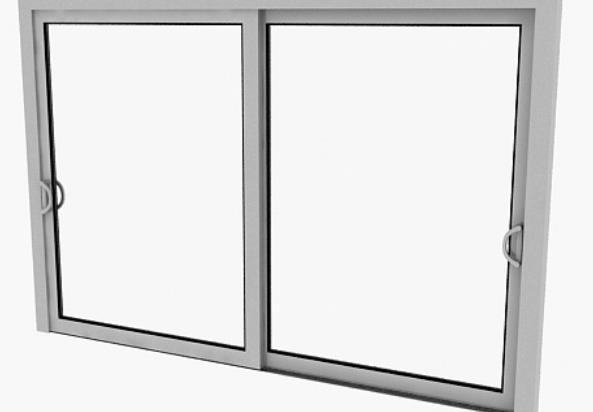 3d现代白色铝合金左右推拉窗模型原文件下载