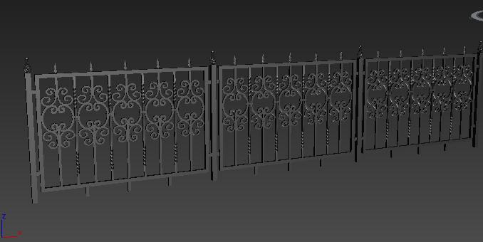 3d黑色铁艺栏杆模型贴图原文件下载