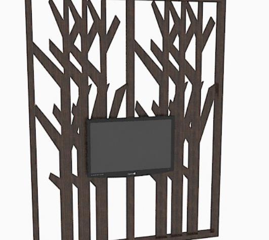 棕色木质雕刻电视墙隔断3d材质模型介绍