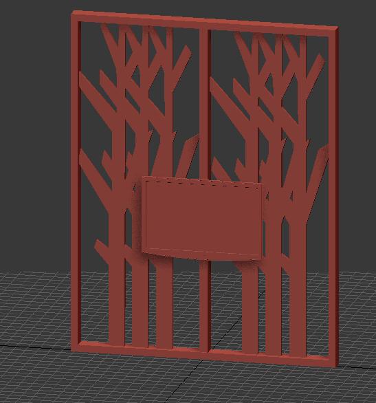 棕色木质雕刻电视墙隔断3d材质模型