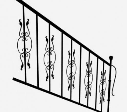 3d免费黑色铁艺栏杆模型贴图原文件下载
