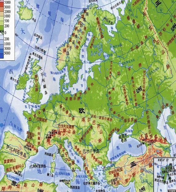 欧洲地图中文版(全图高清) 免费版