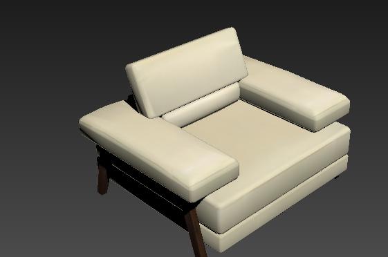 黄颜色简约单人沙发3Dmax材质模型下载