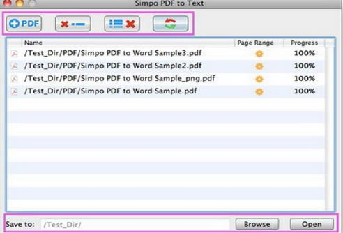 Simpo PDF to Text for Mac界面