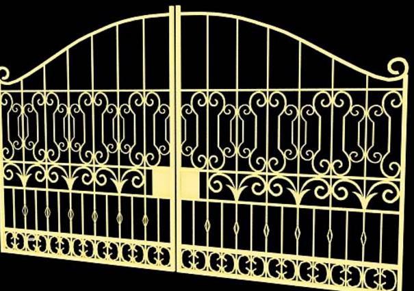 首页 3d模型下载 3d模型 铁艺栏杆 > 欧式铁艺黄颜色大门3d模型材质下
