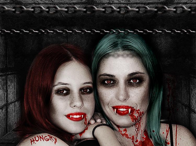 万圣节吸血鬼照片PS制作教程