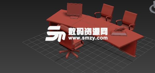 3d深棕色木質辦公桌椅模型貼圖