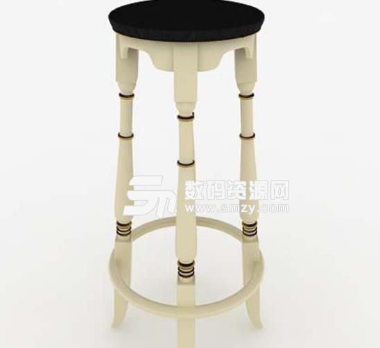3d免費歐式木質圓形凳子模型介紹