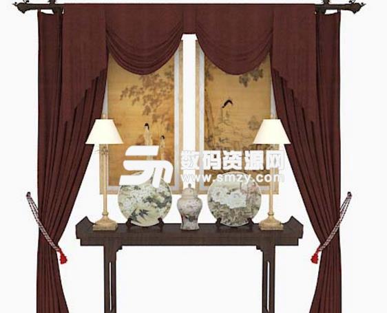 中式家居摆设品3D模型贴图介绍