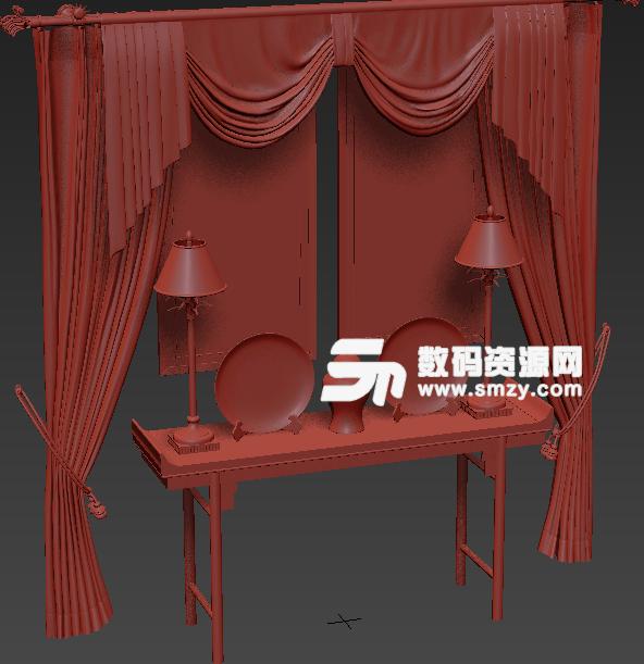 中式家居摆设品3D模型贴图