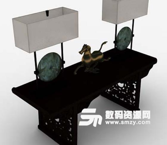 中式室内摆设品3D模型贴图特色