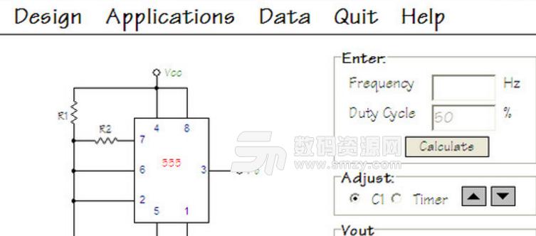 定延时,消抖动,分倍频,脉冲输出,速率检测等。NE555芯片智能电路设计软件是款以NE555芯片为核心,设计出不同的智能控制电路的智能控制电路工具,NE555芯片智能电路设计软件具有无稳类电路作用,方波输出,电源变换,音响报警,玩具,电控测量,定时。