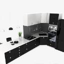 L型黑色厨房整体橱柜3d模型