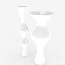 免费白色造型广口花瓶3d模型