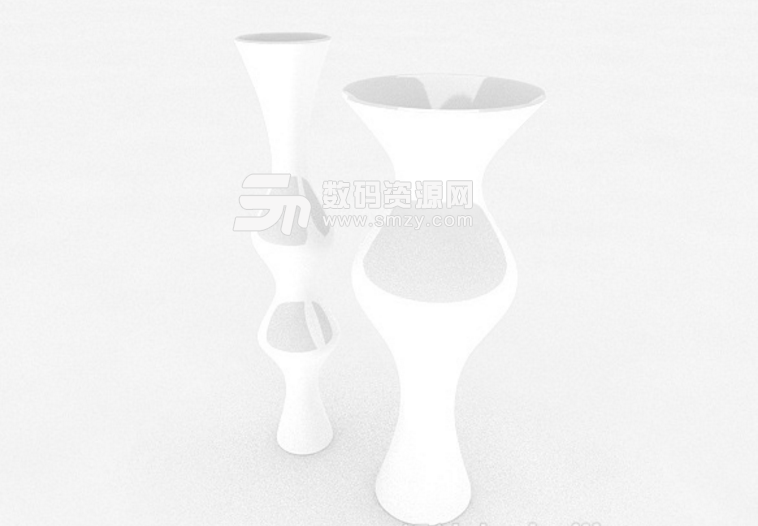 免費白色造型廣口花瓶3d模型