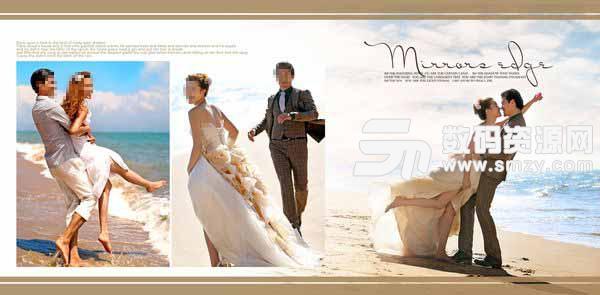 右边的那张婚纱照片是本张婚纱设计模板展现的重点,海边的沙滩上,男孩