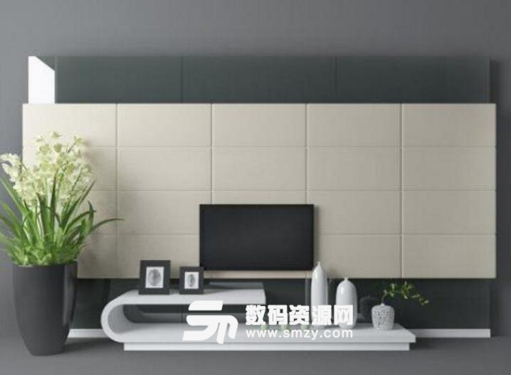 電視墻現代風格設計免費3d模型