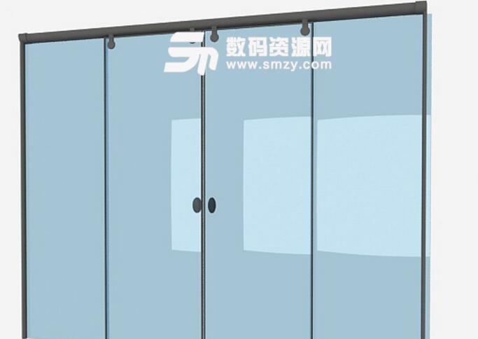 卫浴常见推拉式玻璃门3dmax模型