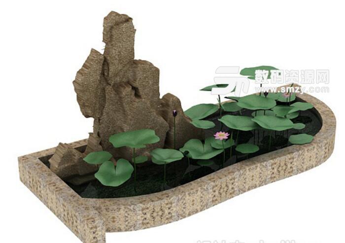 荷花水池假山流水設計免費3d模型