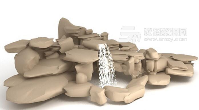 石頭假山噴泉3dmax免費模型