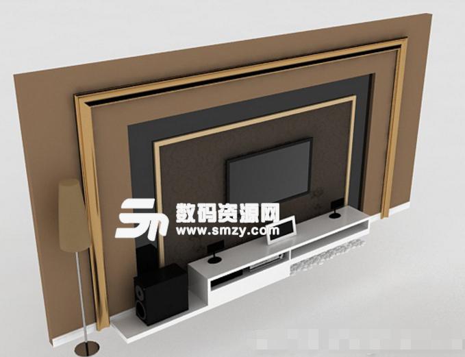 简约免费欧式电视墙3d模型