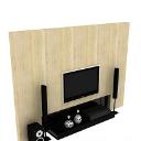 現代簡約音箱背景電視墻3d模型